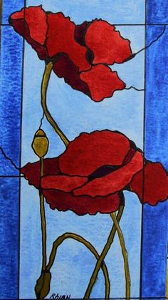 Poppies in stained glass