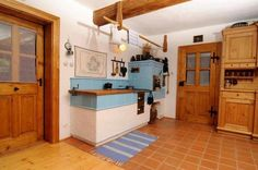 stove with blue tiles Blue Tiles, Kitchen Island, Sweet Home, Bed, Inspiration, Furniture, Type 3, Home Decor, Stoves