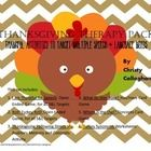 Thanksgiving Speech Therapy pack on TPT with six activities to target multiple Speech and Language needs. $3