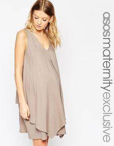 Image 1 ofASOS Maternity NURSING Woven Dress With Overlay