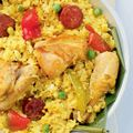 Bringhe is a local version of paella, flavored with fresh coconut milk and turmeric.
