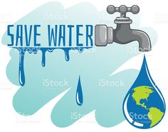 Save water theme with earth and faucet royalty-free stock vector art
