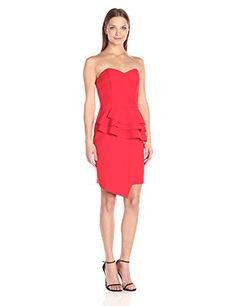 This strapless dress has a sweetheart neckline, layered, front peplum and asymmetrical skirt hem.