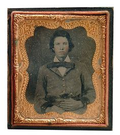 "Ambrotype, Confederate soldier with pistol in belt, said to be E.R. Dent, served under Colonel Bradford, Company K, 31st Tennessee Infantry, 3-1/2 x 2-5/8"", lot accompanied by copies of officers in 12th Kentucky Cavalry, CSA Company B"