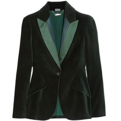 Alexander McQueen Satin-trimmed velvet blazer (1,245 CAD) ❤ liked on Polyvore featuring outerwear, jackets, blazers, tops, coats, forest green, velvet jacket, green velvet jacket, green velvet blazer y green jacket