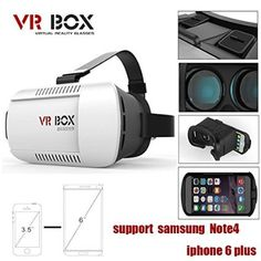VR Glasses Virtual Reality Headset Goggles Video Movie Game Glasses for iPhone Samsung and Other Smartphones of Screens (vr box) Virtual Reality Goggles, Virtual Reality Headset, Iphone 6, Samsung Galaxy S3, 3d Vr Box, Cheap Games, Bluetooth Remote, 3d Glasses, Vr Headset