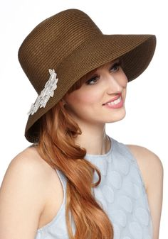 Lace Go Outside Hat. Youre ready and raring to go out as you top your locks with this brown sunhat by Kling! #tan #modcloth