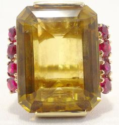 14k Solid Gold Citrine & Pink Sapphire Ring Gorgeous Can Be Sized Free Shipping