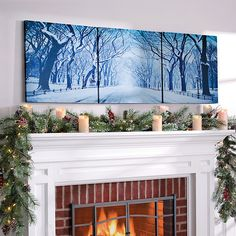 Winter in the Park Triptych Canvas Print-Set of 3 (93 CAD) ❤ liked on Polyvore featuring home, home decor, wall art, winter trees, tree home decor and tree wall art
