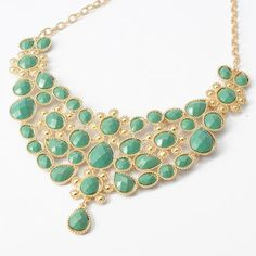 Fashion Gold Chain Curve Sea Green Water Drop Resin Beads Pendant Bib Necklace « Chunky Jewelry Store