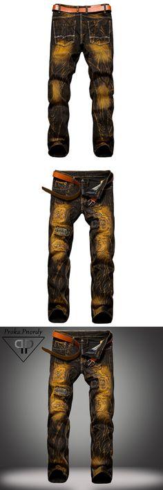Proka Pnordy Mens Retro Ripped Biker Jeans Fashion Distressed Denim Jeans Men Moustache Effect Straight Golden Colour Jeans