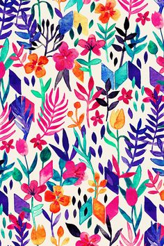 Popping Color Painted Floral on Cream by micklyn - Royal purple, hot pink, orange, emerald, and yellow flowers and geometric shapes on fabric, wallpaper, and gift wrap.  beautiful hand painted watercolor floral design.