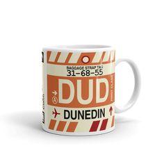 DUD Dunedin Coffee Mug • Airport Code & Vintage Baggage Tag Design