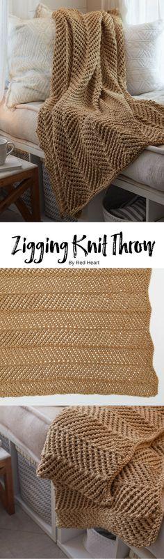 Zigging Knit Throw free knit pattern in Soft yarn.