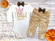 Girl Thanksgiving Outfit Thankful Shirt Baby by BabySquishyCheeks