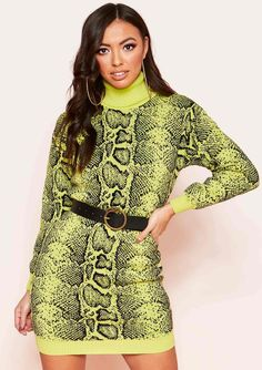 c36ab71c7c Gia Lime Green Roll Neck Snake Print Jumper Dress
