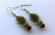 Grey+Leaf+Glass+Deep+Red+Czech+Glass+Bead+Silver+by+westlakebeads,+$14.00