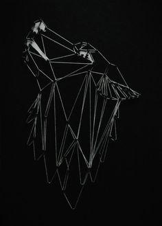Cuadro Mdf Lobo uadro elaborado en MDF con clavos e hilo. Medidas 25X35x1,5 cm. Incluye soporte para colgar. Nail String, Manualidades, Art