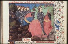 Penthesilea and her Amazons ride through a forest to aid the Trojans      ----The Hague, KB, 74 G 27 .   Christine de Pisan, L'Epistre d'Othea Place of origin, date:  Auvergne(?); c. 1450-1475       http://manuscripts.kb.nl/show/manuscript/74+G+27