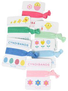 Easter Gifts single packs of CyndiBands hair ties.