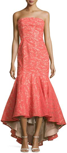 """ML Monique Lhuillier [span class=""""product-displayname""""]Strapless Lace Gown with High-Low Hem[/span]"""