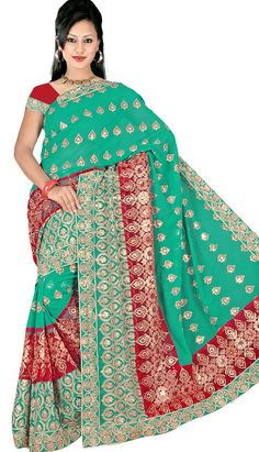 Get a Beautiful Traditional Green Georgette Casual Saree with different design and color with Efello.com.my.