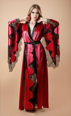 Short Kimono, Lace Kimono, Satin Lingerie, Luxury Lingerie, Satin Color, Loungewear, Night Gown, Marie, Wrap Dress
