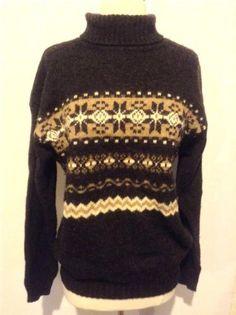BENETTON Nordic Icelandic Fair Isle Geo Sweater Jumper 100% Shetland Wool  Sz L 417383f31