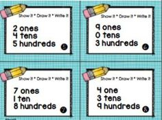 PLACE VALUE TASK CARDS - Place value task cards plus visual supports, tips and printables so you can differentiate to meet your students needs. 4 different sets of task cards included in this packet $