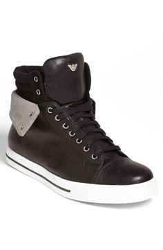 Throwback high-tops feature a turndown collar that reveals contrast panels in wool and suede.Faux leather, suede and wool upper/cotton lining/ rubber sole.By Armani Jeans; Me Too Shoes, Men's Shoes, Shoe Boots, Dress Shoes, Sock Shoes, Nike Shoes, Black High Top Sneakers, Best Sneakers, Sneakers Style