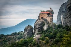 An Orthodox Monastery Perched High Atop a Stone Pillar in Meteora, Greece