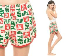 Vintage Swim Trunks 7 UP 70s 80s Op Art 7up Bathing Suit Kitsch Novelty Hipster Swimsuit Swim Vintage Retro Red Green Cotton Small Medium on Etsy, $87.00