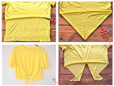 diy tutorials - The below pictures say it all : just cut off the back of your tee-shirt at the correct length and then make a V shape with the front by cutting off two triangular pieces on each side. Cut the V shape in half and tie !