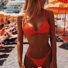 bikini push up brazilian bikini set 2019 trend adjust swimsuit women solid halter top bathing suit summer female micro swimwear Bikini Push Up, Sexy Bikini, Bikini Dos Nu, Bikini Noir, Brasilianischer Bikini, Bikini String, Triangle Bikini, Black Bikini, Triangle Top