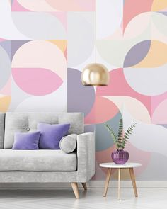 Bring spectacular pattern to your walls with a geometric wallpaper mural from Wallsauce. Featuring stunning pastel pinks, purples and peaches, this beautiful geometric wallpaper is sure to bring an accent to your room. Discover this and more geometric wal Creative Wall Painting, Room Wall Painting, Creative Walls, Wall Painting Patterns, Creative Design, Interior Pastel, Geometric Wall Paint, Geometric Wallpaper Living Room, Geometric Painting