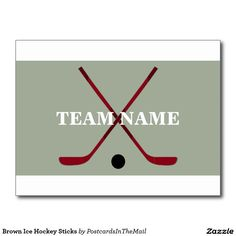 Brown Ice Hockey Sticks Postcard