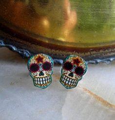 Antiqued Filigree Sugar Skull Earrings $9.95