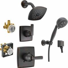 Delta Ashlyn Monitor Shower Kit with 2-Port Diverter and Wall-Mount Hand Shower, Available in Various Colors, Bronze