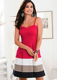 Red Multi (RDMU) Color Block Dress $56 @ venus.com