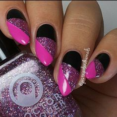 # Black & Pink W/ Glittering Nail Art