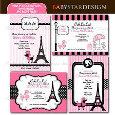 BDpinkpoodleinparisinvitations 601x603 Pixels Paris Invitations 1st Birthday Printable