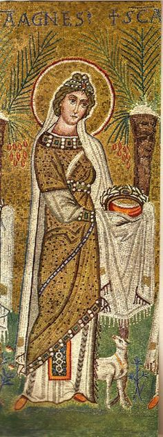 St Agnes -- from «Early Christian Mosaics from the Fourth to the Seventh Centuries: Rome, Naples, Milan, Ravenna».  Fourteen Plates in Color.  Translated from the German, 1946.