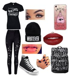"""""""average me"""" by justmekissy on Polyvore featuring WithChic, Converse, Disney and Casetify"""