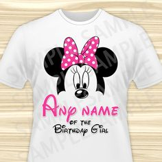 Minnie Mouse Any Name of the Birthday Girl Iron On. Minnie