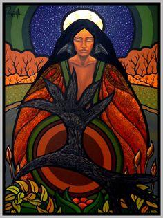 Woman, full moon, Art by Aaron Claudia Tremblay, Mexican Artwork, Satanic Art, Goddess Art, Native American Artists, Collaborative Art, American Indian Art, Indigenous Art, Arts And Crafts Supplies