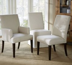 PB Comfort Square Upholstered Chair. Eat in Kitchen X 4. Fabric: Performance Everyday Linen Oatmeal.