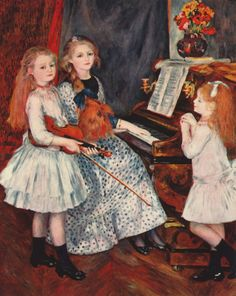 Portrait of the daughters of Catulle-Mendes at the piano 1888 Artist: Renoir, Pierre-Auguste (French Impressionist artist. Pierre Auguste Renoir, Monet, August Renoir, Renoir Paintings, Piano Art, Oil Painting Reproductions, Impressionist Art, Metropolitan Museum, Art History