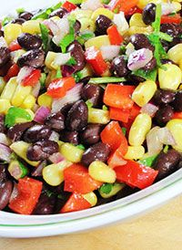 Our body can combine the plant proteins we eat at different times during the day to make the complete protein our body needs to repair its muscles, help keep the immune system strong and continue growing healthy.   Try this southwestern bean salad, packed full of plant proteins, fiber and cancer-fighting phytochemicals.