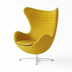 Arne Jacobsen 1958 Egg Chair, Fabric by Minä Perhonen. The Egg is a chair designed by Arne Jacobsen in 1958 for the Radisson SAS hotel in Copenhagen, Denmark. Egg Sessel, Arne Jacobsen Chair, Yellow Accent Chairs, Yellow Desk, Yellow Sofa, Patterned Armchair, Interior Desing, Lounge Seating, Diy Chair