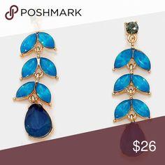 "Floral Leaf Gemstone Opal Earrings • Style No : 289325-1 • Color : Montana Blue Opal, Gold • Theme : Flower & Leaf  • Size : 0.5"" W, 2"" L • Post Back * MSRP: $36 • Floral Leaf Gemstone Opal Earrings Farah_lux Jewelry Earrings"